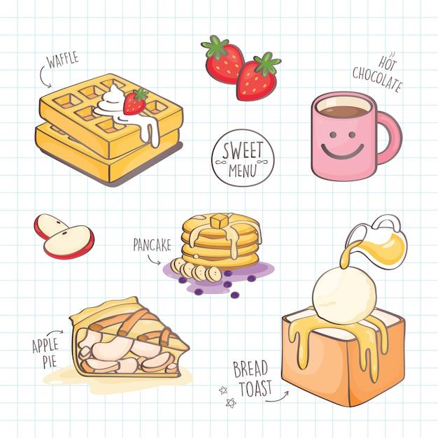 Dessert coloré style doodle. Vecteur Premium