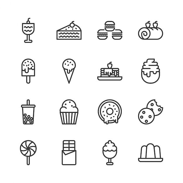 Dessert icon set Vecteur Premium