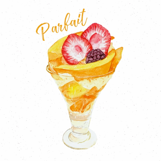 Dessert à La Main à La Mangue Dessiner Aquarelle Croquis Vecteur Premium