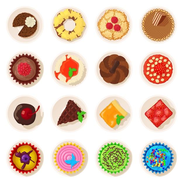 Dessert vue de dessus icônes détaillées définies. bande dessinée illustration de 16 icônes vectorielles détaillées de desserts vue de dessus pour le web Vecteur Premium