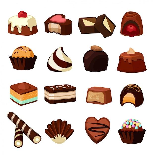 Desserts au chocolat. Vecteur Premium