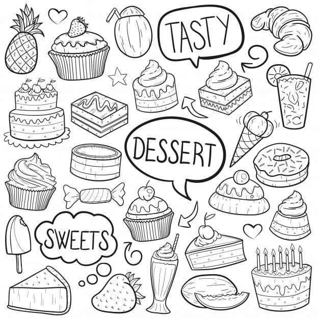 Desserts et bonbons Vecteur Premium