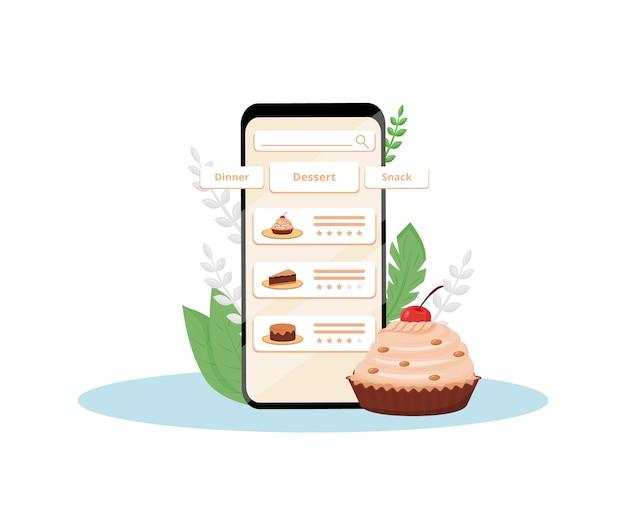 Desserts En Ligne évaluation De La Qualité Application Mobile Design Plat Illustration De Concept Vecteur Premium
