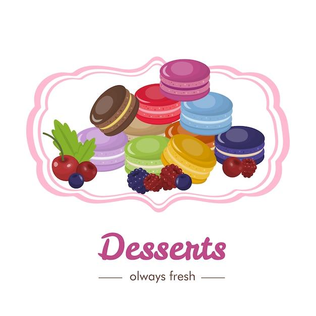 Desserts sucrés français avec des fruits et des baies Vecteur Premium