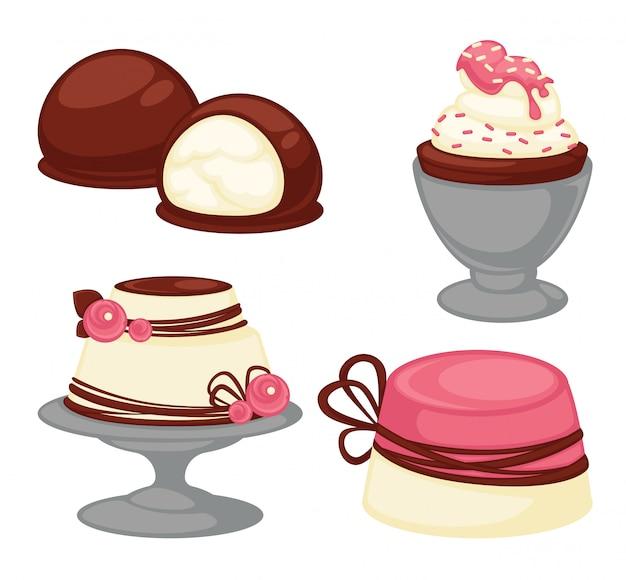 Desserts sucrés et gâteaux de pâtisserie icônes vectorielles Vecteur Premium