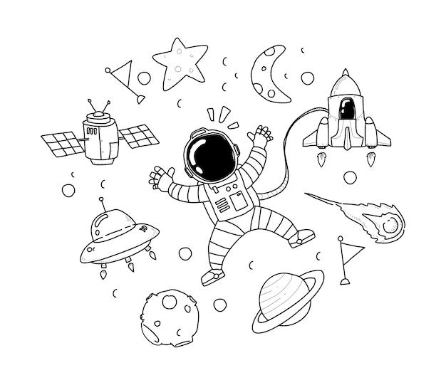 Dessin la main de l 39 astronaute t l charger des vecteurs premium - Dessin d astronaute ...