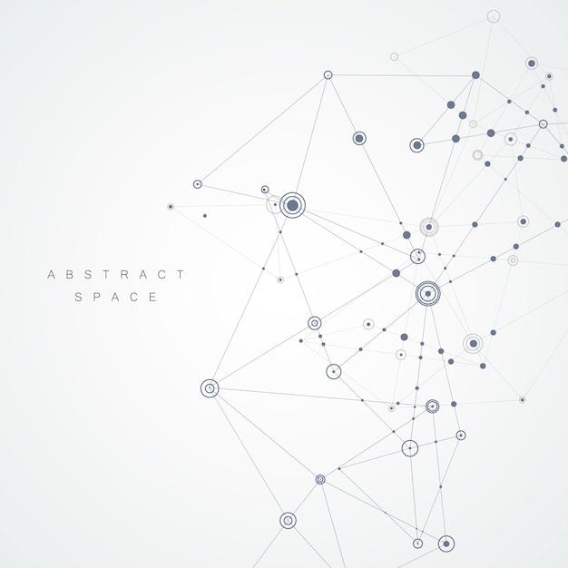 Dessin abstrait avec lignes et points composés Vecteur Premium