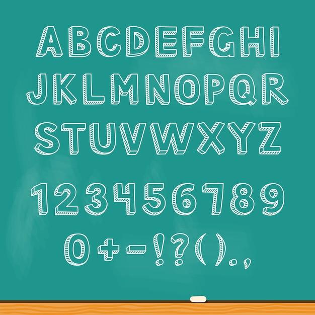 Dessin alphabet lettrage sur tableau noir Vecteur Premium