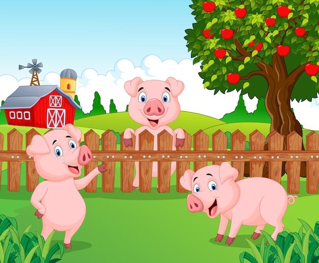 Dessin animé adorable bébé cochon à la ferme Vecteur Premium