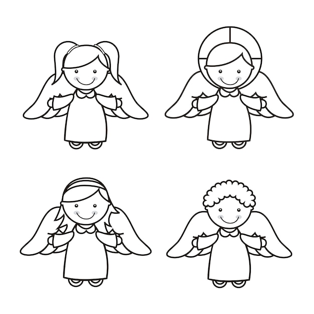 Dessin animé d'ange sur illustration vectorielle fond blanc Vecteur Premium