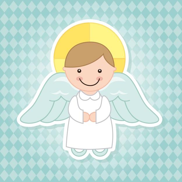 Dessin animé d'ange sur illustration vectorielle fond bleu Vecteur Premium