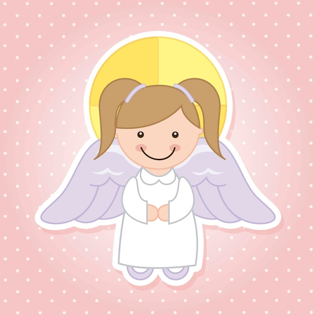 Dessin animé d'ange sur illustration vectorielle fond rose Vecteur Premium
