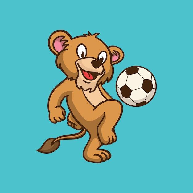 Dessin Animé Animal Design Enfants Lion Jouant Au Ballon Logo Mascotte Mignon Vecteur Premium