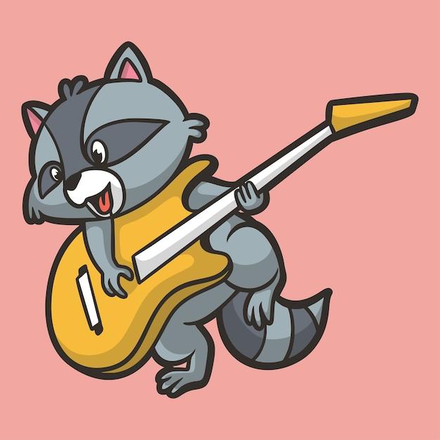 Dessin Animé Animal Design Raton Laveur Jouant De La Guitare Mascotte Mignonne Vecteur Premium