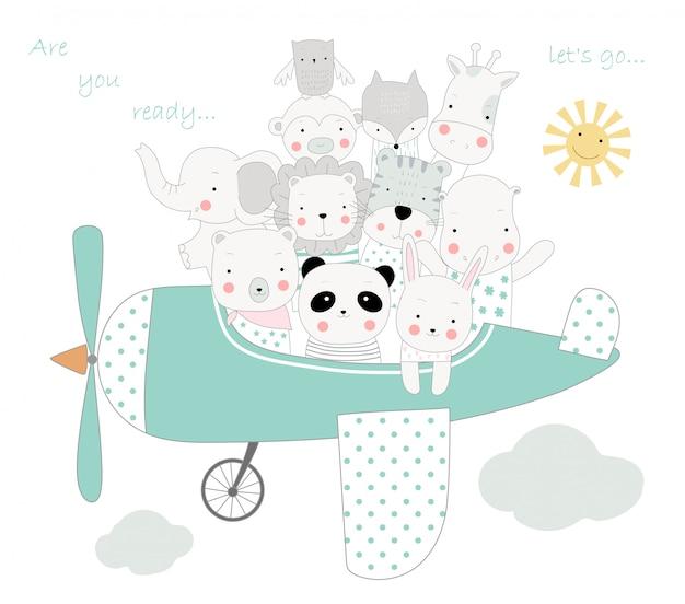 Le dessin animé animal mignon avec l'avion pour voyager en vacances Vecteur Premium