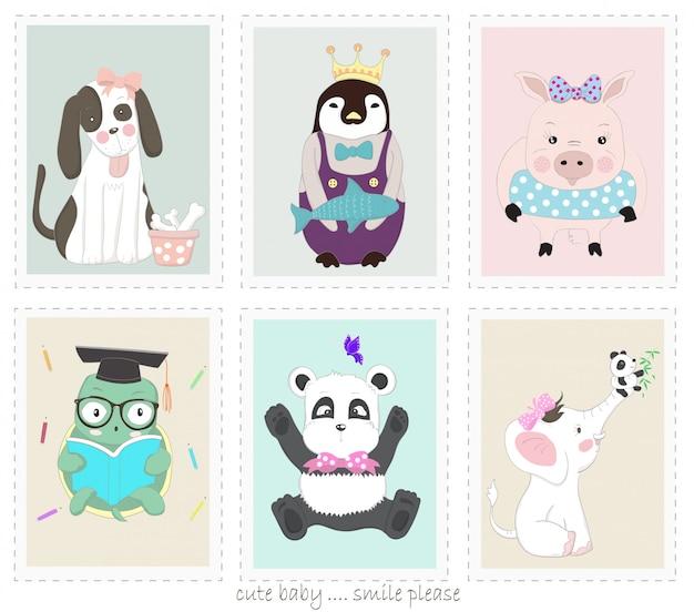 Le dessin animé animal mignon dans le cadre photo Vecteur Premium