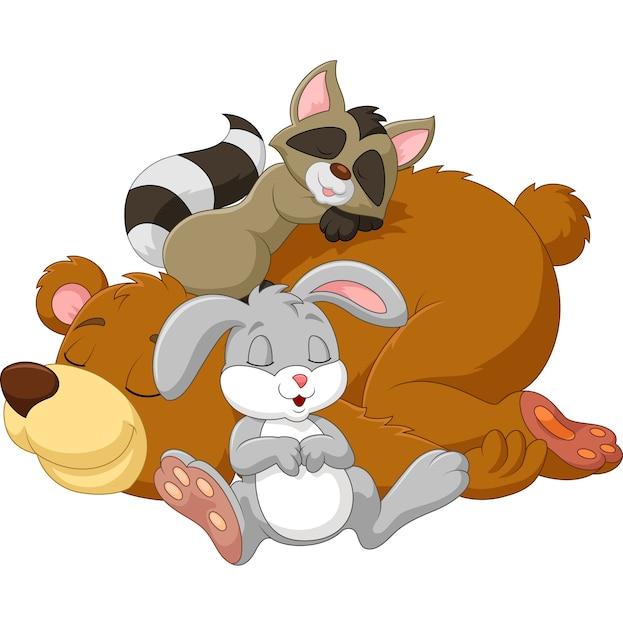 Dessin animé animal sauvage dormir ensemble Vecteur Premium