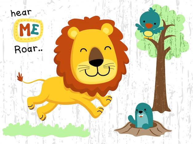 Dessin animé animaux heureux dans la jungle Vecteur Premium