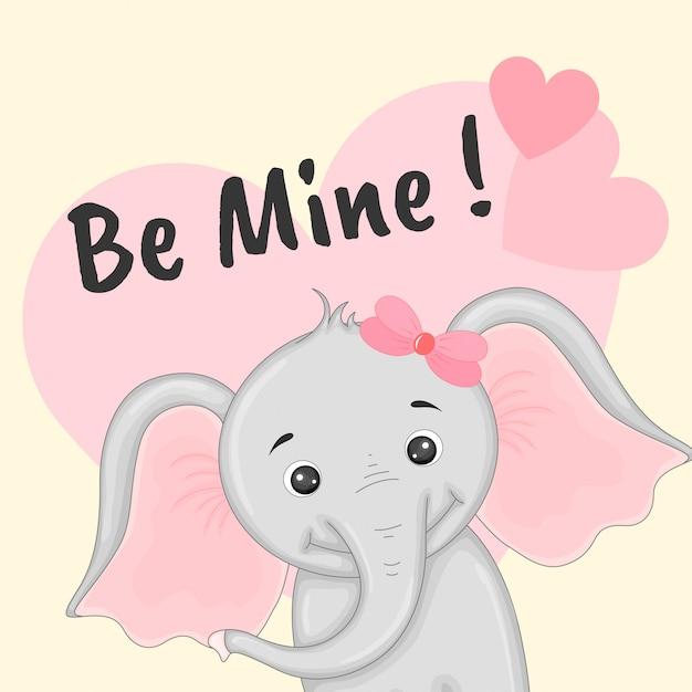 Dessin animé avec animaux et lettrage pour la saint valentin Vecteur Premium