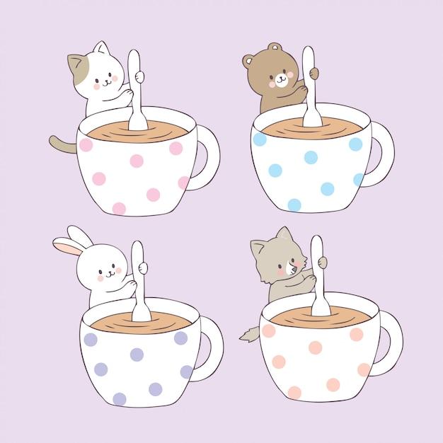 Dessin animé animaux mignons et vecteur de tasse de café. Vecteur Premium