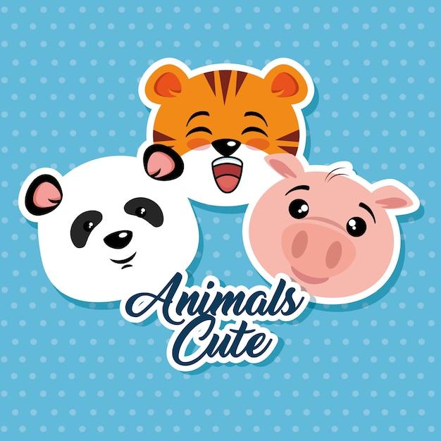 Dessin Animé Animaux Mignons Vecteur Premium