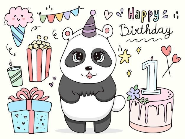 Dessin Animé Anniversaire Mignon Bébé Panda Jeu De Caractères Vecteur Premium