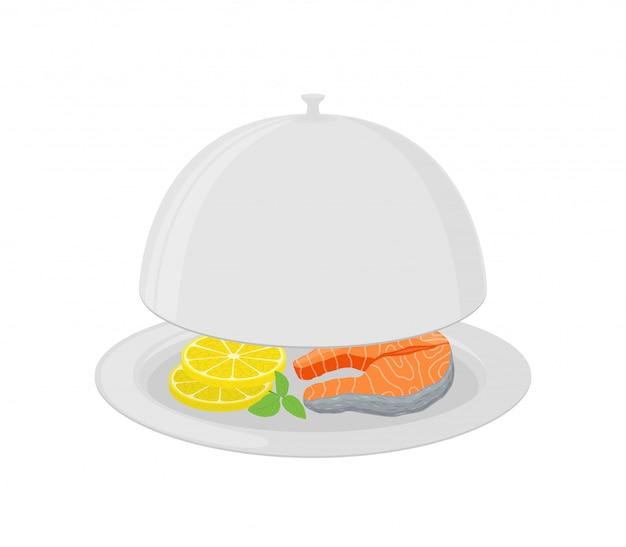 Dessin animé argent cloche au saumon, citron Vecteur Premium
