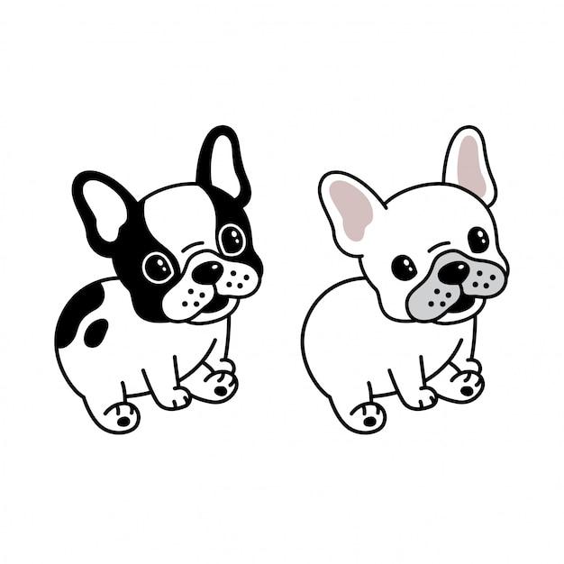Dessin animé assis bulldog français Vecteur Premium