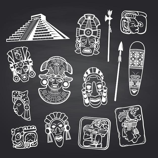 Dessin Animé Aztèque Et Maya Masque éléments Illustration Ensemble Vecteur Premium