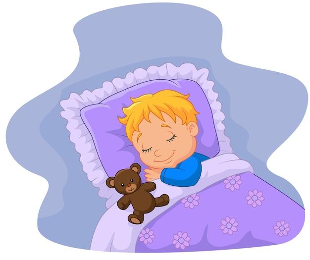 Dessin animé bébé dormir avec ours en peluche Vecteur Premium