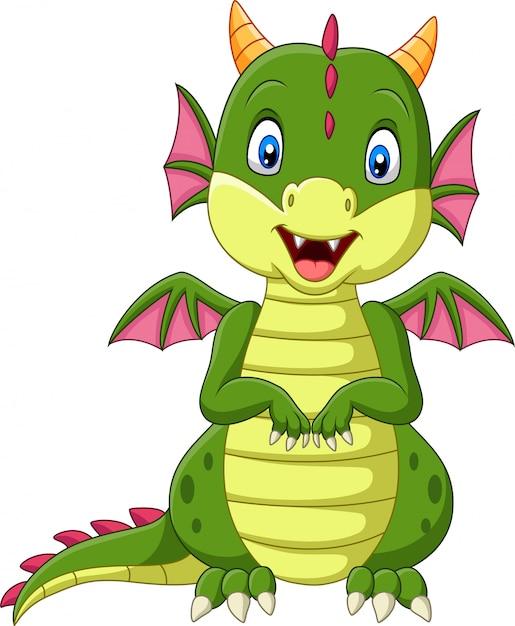 Dessin Animé Bébé Dragon Sur Fond Blanc Télécharger Des