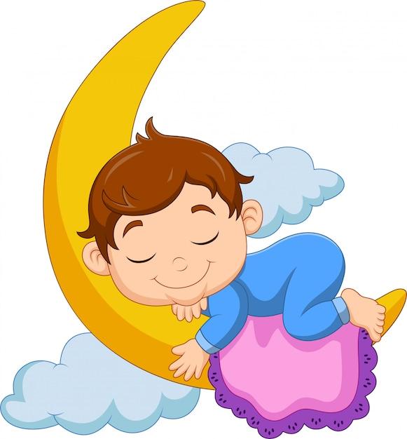 Dessin animé bébé garçon dormant sur la lune Vecteur Premium