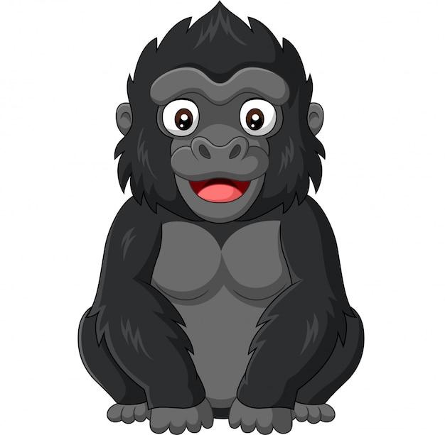 Dessin animé bébé gorille sur fond blanc Vecteur Premium