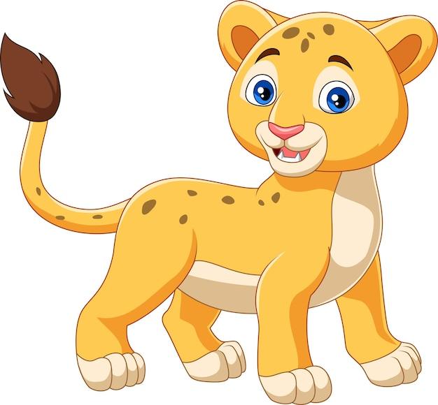 Dessin Animé Bébé Lion Isolé Sur Fond Blanc Télécharger Des