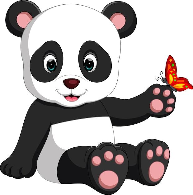 Dessin Animé De Bébé Panda Télécharger Des Vecteurs Premium
