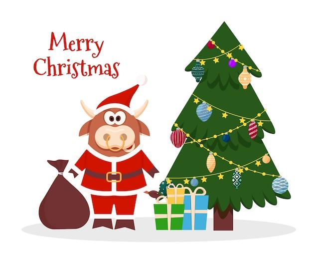 Dessin Animé, Bœuf, Santa, Noël Vecteur Premium
