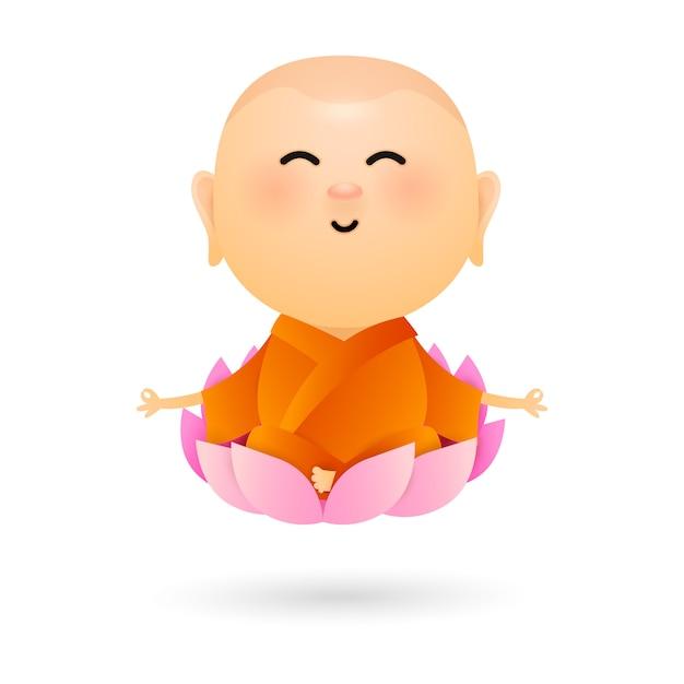 Dessin Animé Bouddha Assis Dans Le Lotus Vecteur gratuit