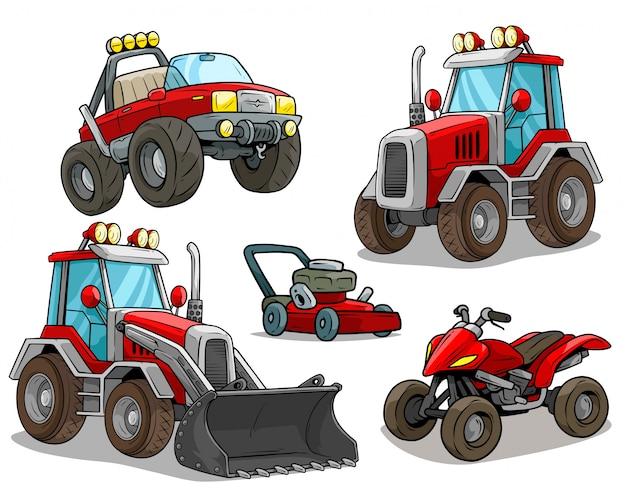 Dessin Anime Bulldozer Rouge Hors Route Camion Quad Moto Vecteur Premium