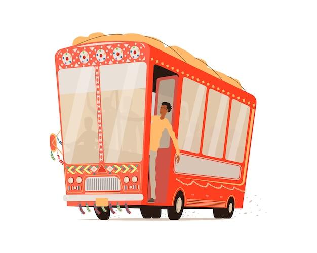 Dessin Animé Bus Indien Isolé. Vecteur Premium