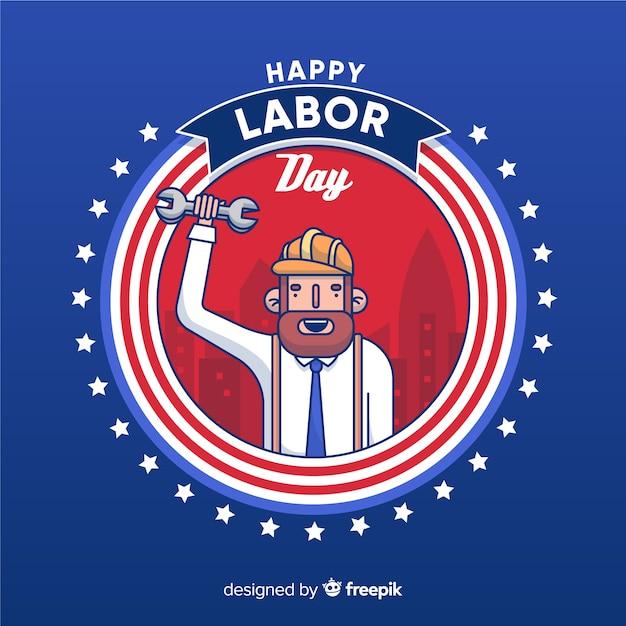 Dessin animé célébrant la fête du travail américaine Vecteur gratuit