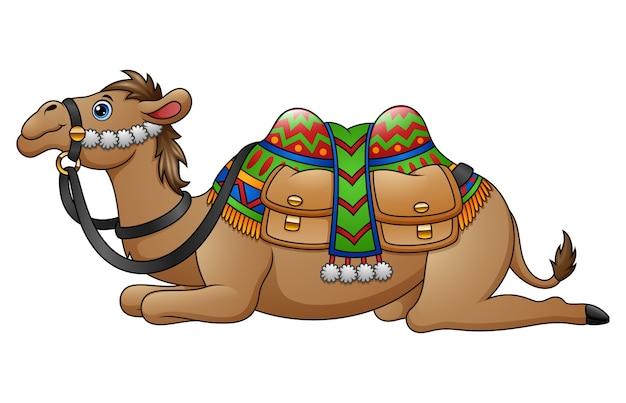 Dessin animé chameau avec selle Vecteur Premium