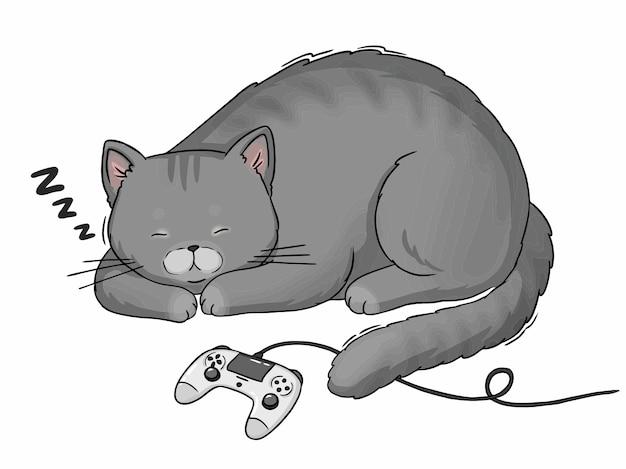Dessin Animé Chat Gris Dormant Avec Manette De Jeu Playstation Vecteur Premium