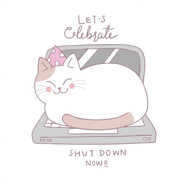 Dessin animé chat mignon dormir vecteur de cahier. Vecteur Premium