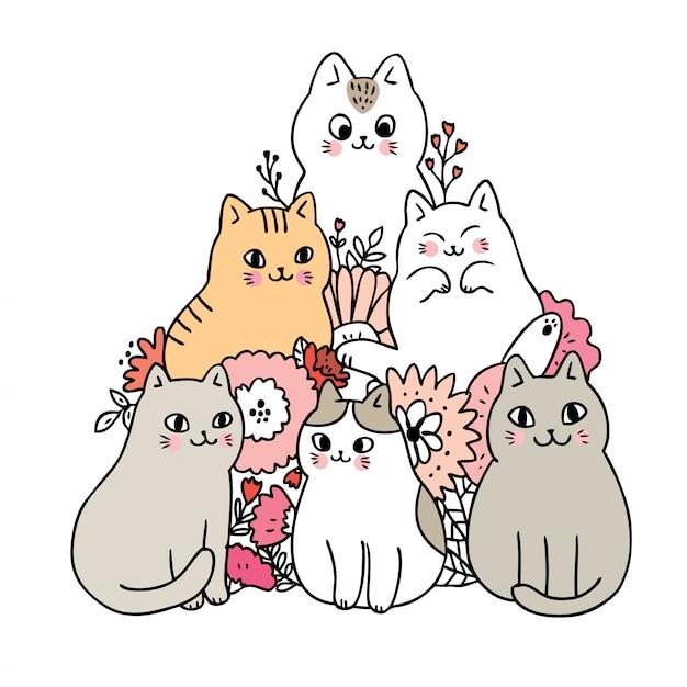 Dessin animé chats mignons et vecteur de fleurs. Vecteur Premium
