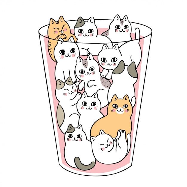 Dessin animé de chats mignons en vecteur de verre. Vecteur Premium