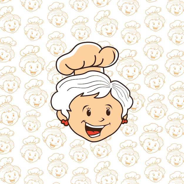 Dessin Animé Chef Grand-mère Vecteur Premium