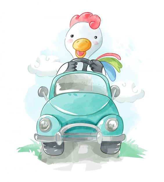 Dessin animé chiken conduisant une illustration de voiture Vecteur Premium