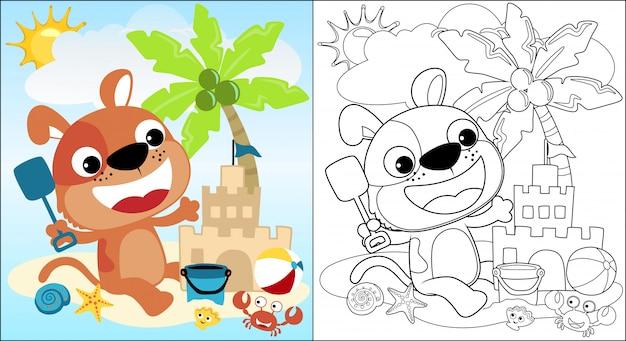 Dessin animé de chiot mignon construire un château de sable sur la plage pendant les vacances d'été Vecteur Premium