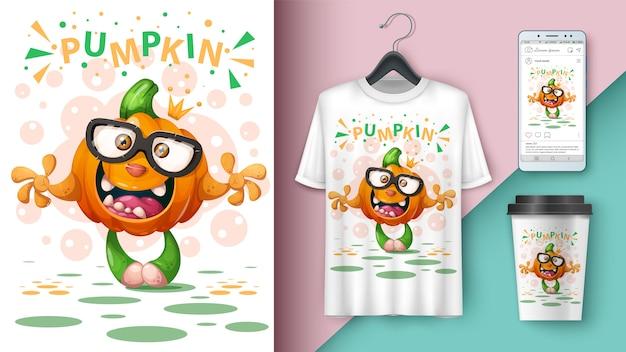 Dessin animé citrouille - conception de t-shirt Vecteur Premium