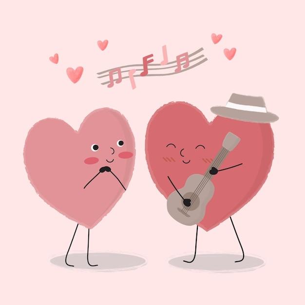 Le Dessin Animé De Coeur Jouant De La Guitare Et Chantant Pour Couple, Dessin Animé Isolé Couples Romantiques Mignons Amoureux, Concept De La Saint-valentin, Illustration Vecteur gratuit